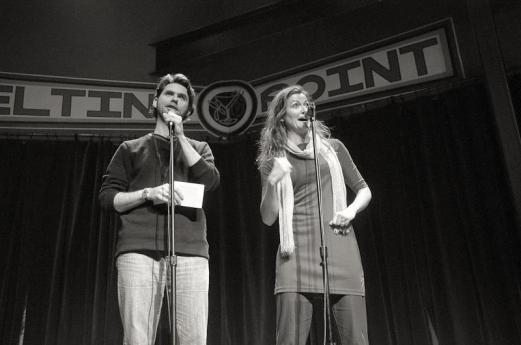 Emcees Roger Stahl and Kate Morrissey